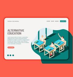 Alternative education isometric web page vector