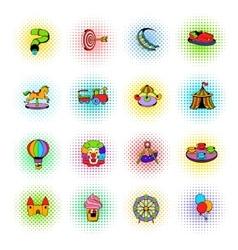 Amusement park set icons comics style vector