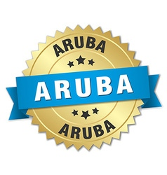 Aruba round golden badge with blue ribbon vector image