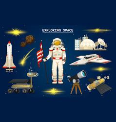 Astronaut in space spaceman explores galaxy vector
