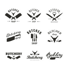 big set of butchery logo templates butchery vector image