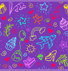 birthday seamless pattern doodle vector image