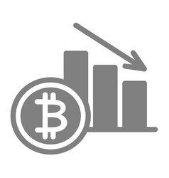 Bitcoin rate decrease solid icon cryptocurrency vector