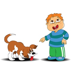 Boy and dog vector image vector image