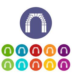 Brick arch icons set color vector