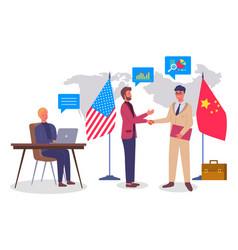 businessmen shaking hands trade agreement between vector image