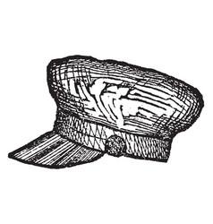 Cap a covering for the head vintage engraving vector