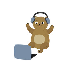 cartoon bear sitting with laptop ta knees vector image