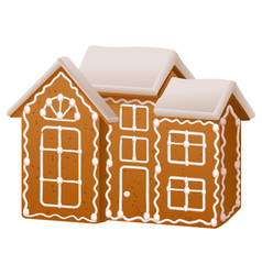 christmas gingerbread house with sugar icing vector image