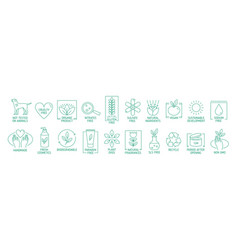 collection of linear symbols or badges for natural vector image