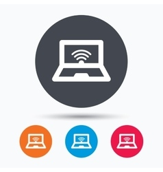 Computer with wifi icon Notebook or laptop pc vector