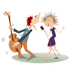 Couple musicians singer woman and guitar player vector