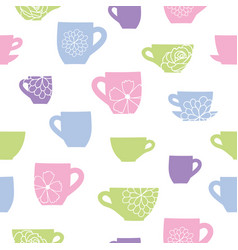 cups and flowers teatime seamless pattern vector image