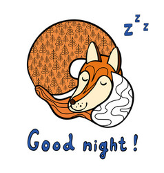 cute cartoon sleeping fox vector image
