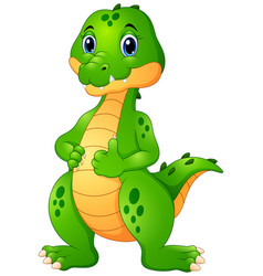 Cute crocodile cartoon giving thumbs up vector
