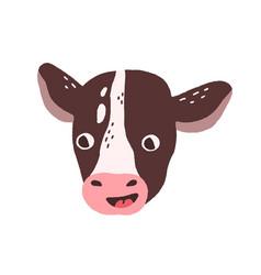 Cute funny calf face head portrait of domestic vector