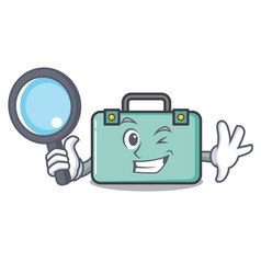 Detective suitcase character cartoon style vector
