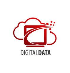 digital data cloud screen logo concept design vector image