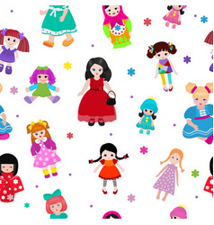 Doll toy cute girl female set vector