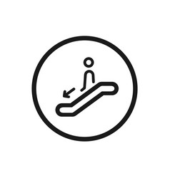 escalator icon with down stairs symbol on a white vector image