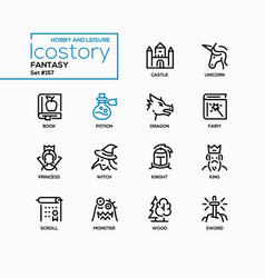 fantasy concept - line design style icons set vector image