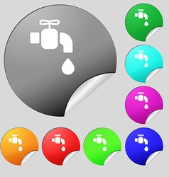 Faucet icon sign Set of eight multi colored round vector
