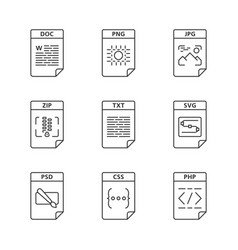 files format linear icons set vector image