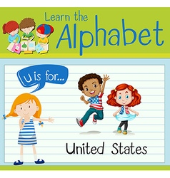 Flashcard alphabet u is for united states vector