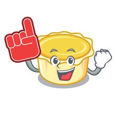 Foam finger egg tart mascot cartoon vector