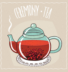 Glass teapot with tea with goji berry vector