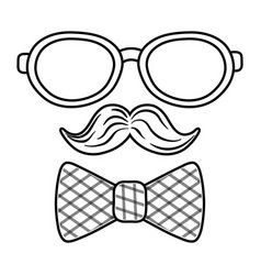 glasses with moustache and tie bow black and white vector image
