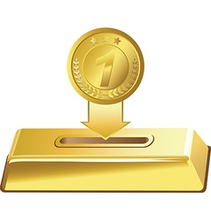 Gold button vector