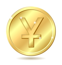 Golden coin with yuan sign vector