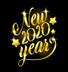 golden sign happy new 2020 year holiday vector image