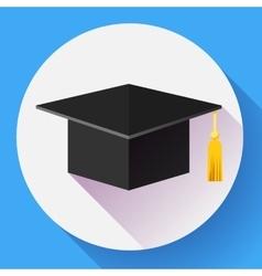 Graduation cap icon Flat design style vector