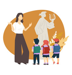Guide explaining antique culture to kids in museum vector