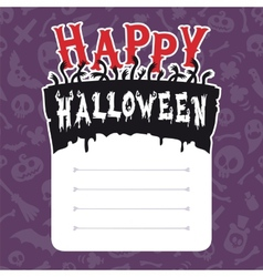 Happy halloween card with text box vector