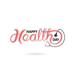 Happy health day typographical design elements vector