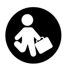 Human figure with portfolio silhouette icon vector