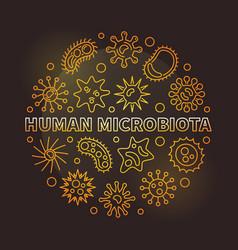 human microbiota round golden outline vector image
