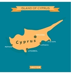 Island of Cyprus with a mark cities on it vector image