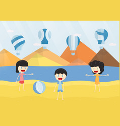 kids smile and play the blue balloon on the beach vector image