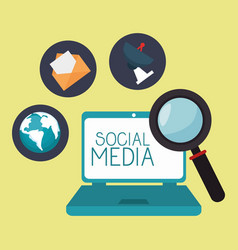 laptop with social media icon vector image