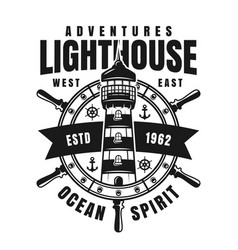lighthouse and ship wheel retro emblem vector image
