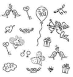 Line art doodle love symbols for St Valentine Day vector image