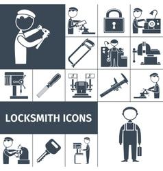 Locksmith Icons Black vector
