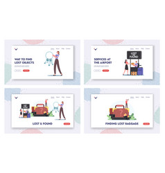 lost and found landing page template set vector image