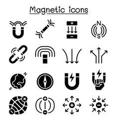 magnet icon set vector image