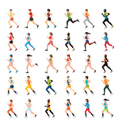 marathon runners and handicap sprinter with vector image