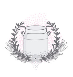 Mason jar with wreath vector